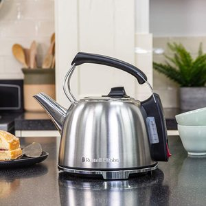 Russell Hobbs K65 Anniversary Electric Kettle on display in a kitchen.